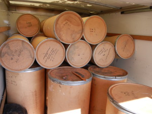 Barrels and barrels of virgin wool rya rug yarn in the back of a truck!