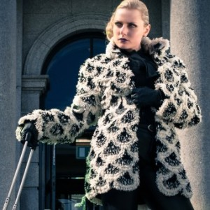 Heli MG's Award- winning Eco Fur Convertible Coat. Heli has turned rya into a modern fashion statement.