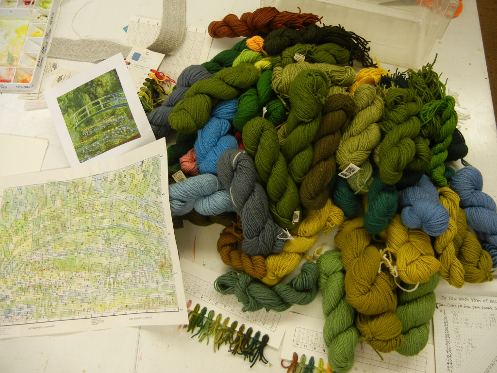 Here is the pile gathered for Bill's rya project: Monet's Bridge.