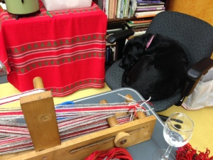Gypsy, my studio Lab Assistant, curls up in my chair during a quiet moment