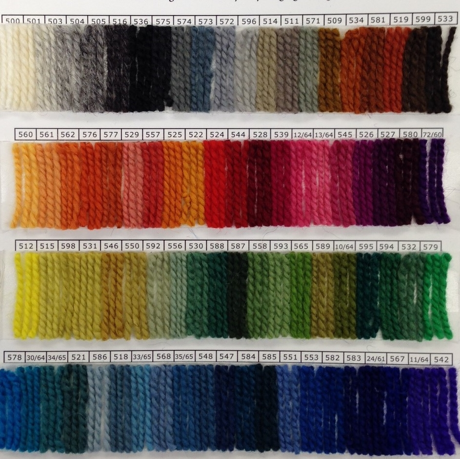 These are the 82 Rauma Ryagarn color I have on hand.