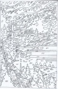 Pook line drawing with numbers 9-16-15