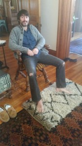 Sarah's first rya of her own design under her husbands feet in Kentucky