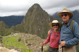 "Jan and Dave Flora at Machu Picchu.  Jan is wearing ""Bee!"""
