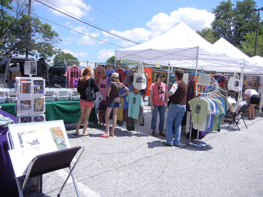 "A typical ""double-wide"" booth at Art in the Park back in about 2011."